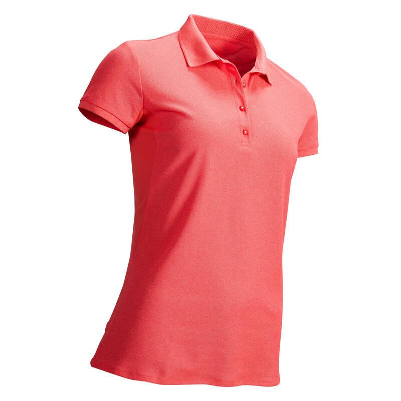 DÁMSKÉ GOLFOVÉ OBLEČENÍ DO TEPLÉHO POČASÍ Golf - GOLFOVÉ POLO WW500 RŮŽOVÉ  INESIS - Golfové oblečení