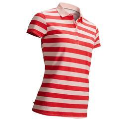 女款溫和氣候粉紅條紋高爾夫球POLO衫-粉草莓色
