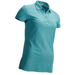 Golfpolo met korte mouwen voor dames, zacht weer, donkerturquoise