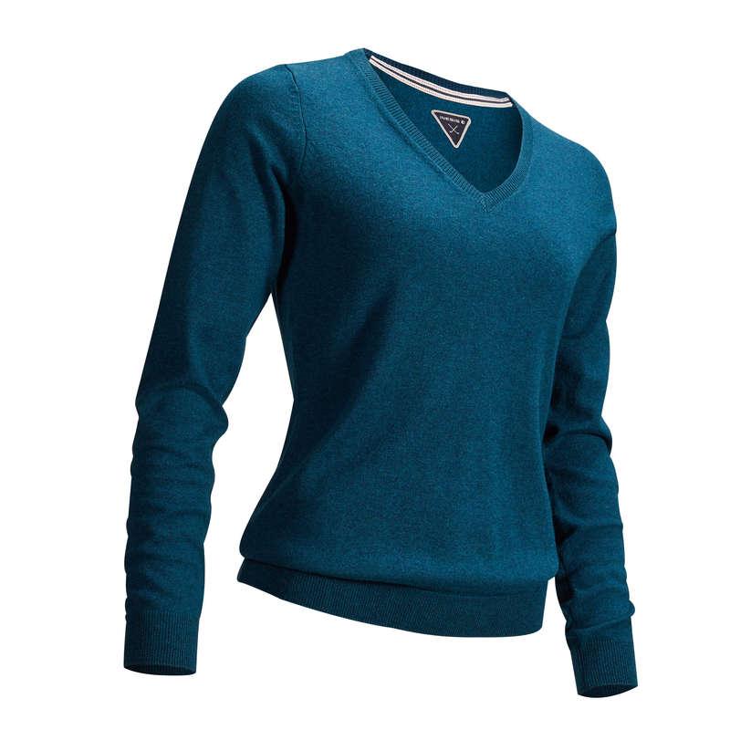 DÁMSKÉ GOLFOVÉ OBLEČENÍ DO CHLADNĚJŠÍHO POČASÍ Golf - GOLFOVÝ SVETR 500 MODRÝ  INESIS - Golfové oblečení