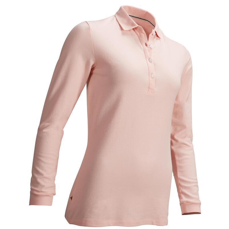 Polo de golf manches longues femme MW500 rose pale