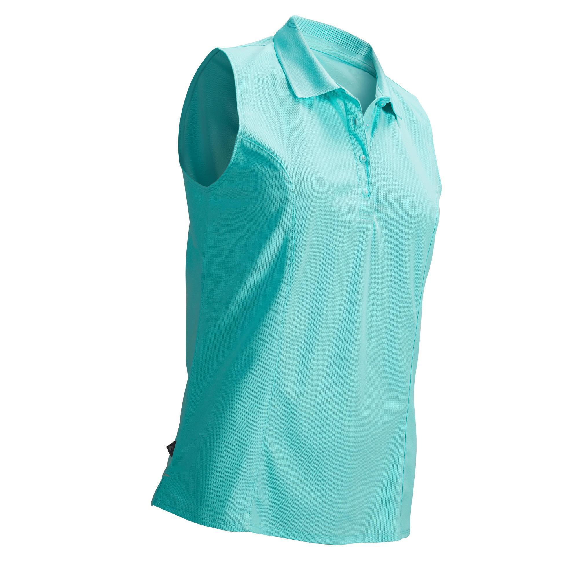 88b085ac5 LIGHT TURQUOISE WOMEN'S WARM WEATHER SLEEVELESS GOLF POLO | Inesis Golf