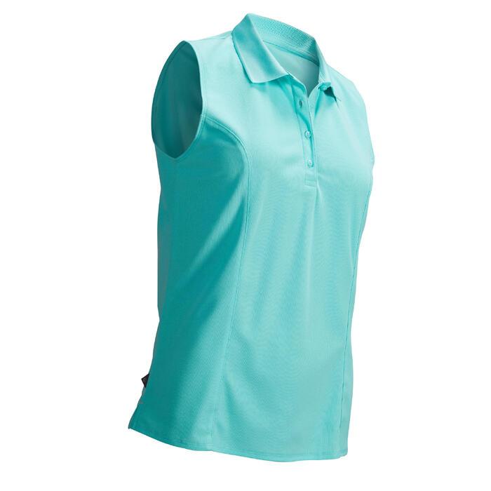 Mouwloze golfpolo voor dames warm weer lichtturkoois