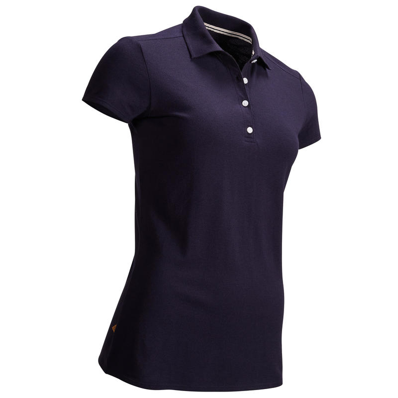 NAVY BLUE WOMEN'S SHORT-SLEEVED MILD WEATHER GOLFING POLO