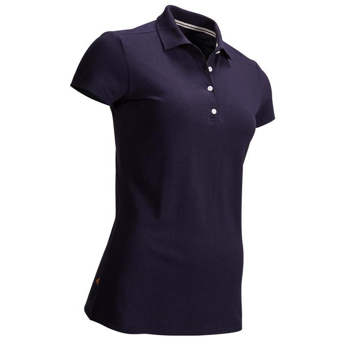 女款溫和氣候短袖高爾夫球POLO衫-軍藍色