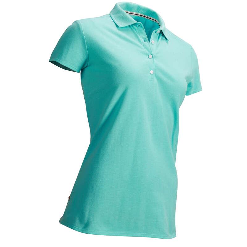 DÁMSKÉ GOLFOVÉ OBLEČENÍ DO CHLADNĚJŠÍHO POČASÍ Golf - GOLFOVÉ POLO TYRKYSOVÉ INESIS - Golfové oblečení