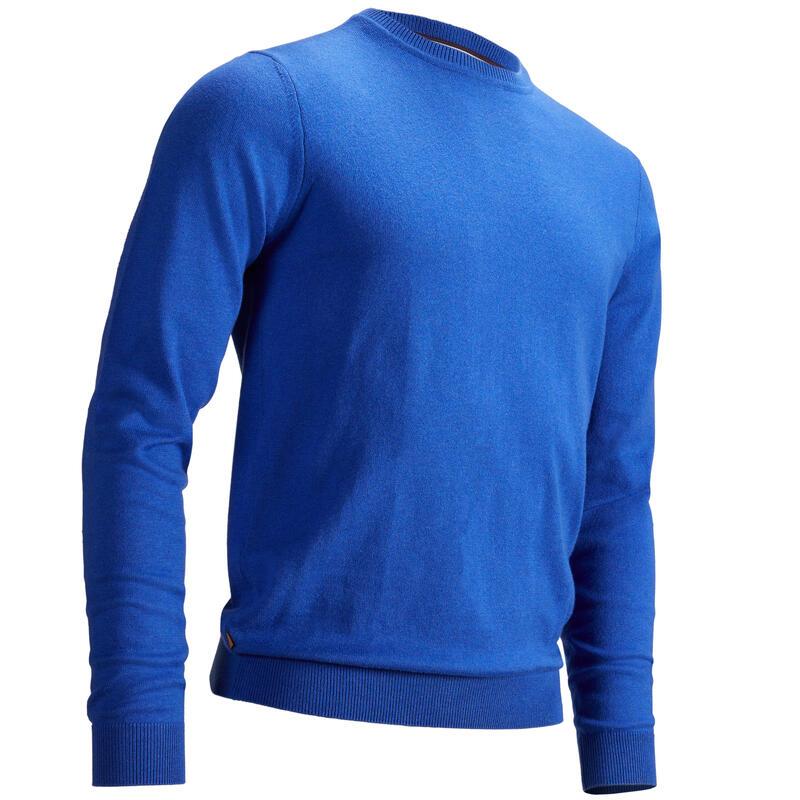 Men's golf crew neck pullover MW500 mottled blue