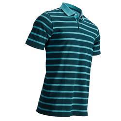 男款溫和氣候短袖高爾夫POLO衫-靛藍色