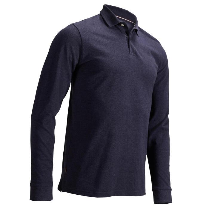 Golf Poloshirt langarm Herren denimblau