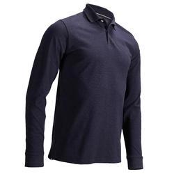 男款溫和天候高爾夫長袖Polo衫-丹寧藍