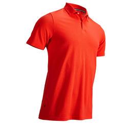 男款溫和氣候短袖高爾夫球POLO衫-珊瑚紅