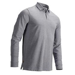 HEATHER GREY MEN'S WEATHER LONG SLEEVE GOLF POLO SHIRT