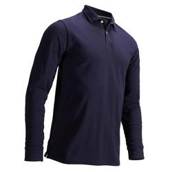 NAVY BLUE MEN'S MILD WEATHER LONG SLEEVE GOLF POLO SHIRT