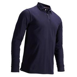 男款溫和天候長袖高爾夫POLO衫-軍藍色