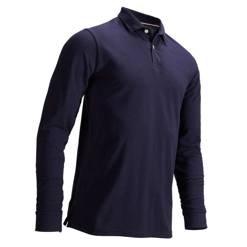 MENS MILD WEATHER GOLF CLOTHING Golf - Men's LS Polo Shirt Navy Blue INESIS - Golf Clothing