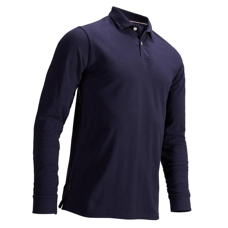 PÁNSKÁ GOLFOVÁ POLA - MÍRNÉ POČASÍ Golf - PÁNSKÉ POLO MW500 TMAVĚ MODRÉ INESIS - Golfové oblečení