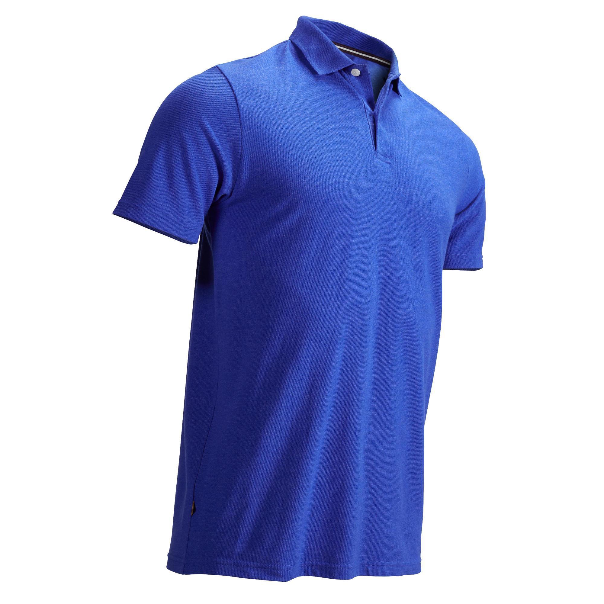 Inesis Golfpolo voor heren korte mouwen zacht weer gemêleerd electric blue