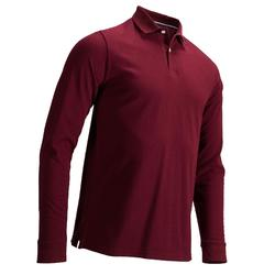 Men's Mild Weather Long Sleeve Golf Polo Shirt - Burgundy