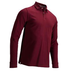 男款高爾夫長袖Polo衫-酒紅色
