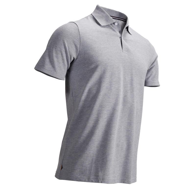Polera polo de golf hombre manga corta 500 clima caluroso gris jaspeada