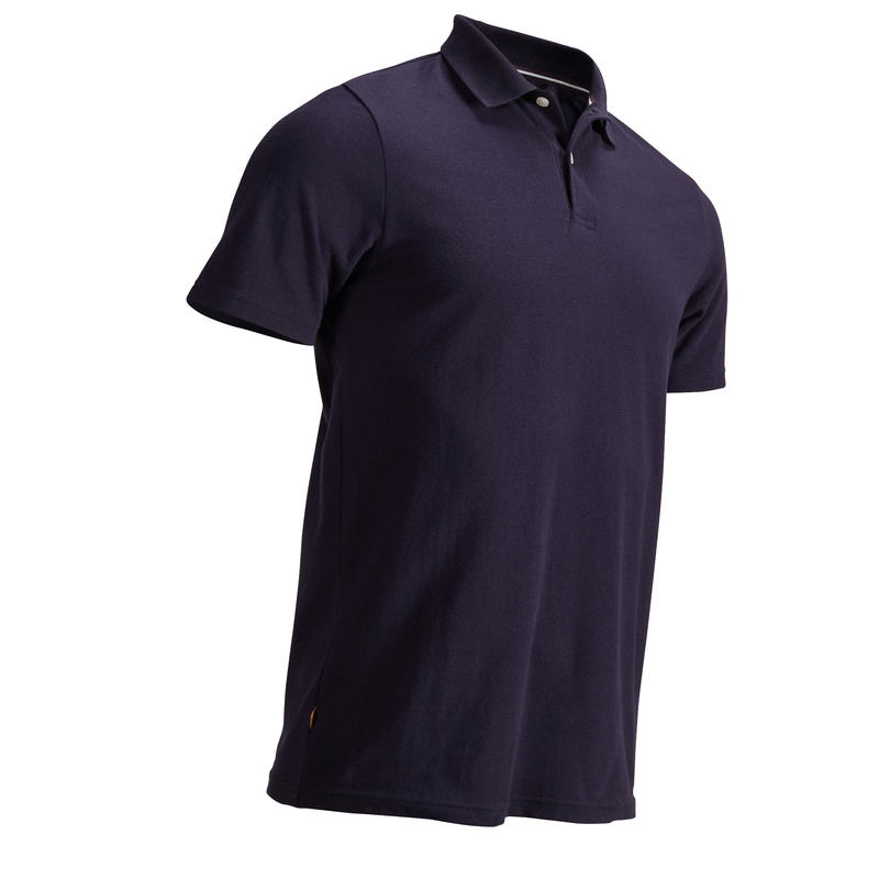 NAVY BLUE MEN'S SHORT-SLEEVED MILD WEATHER GOLFING POLO
