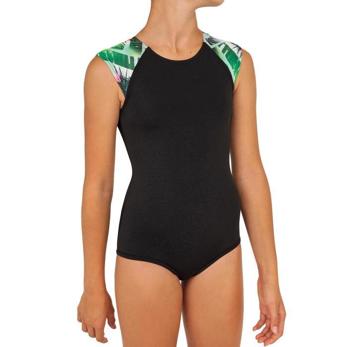 Bañador Surf Olaian Manly Tiare Niña Negro Verde