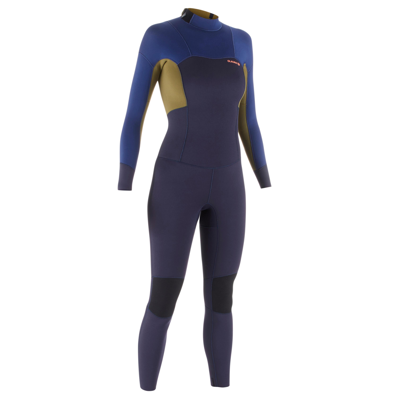 Neoprenanzug einteilig 3/2 500 Reißverschluss hinten Damen | Sportbekleidung > Sportanzüge > Sonstige Sportanzüge | Blau - Khaki | Olaian