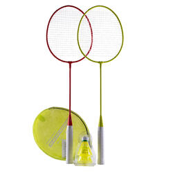 Badmintonrackets in set voor recreatief outdoor gebruik rood geel