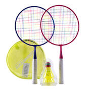 KID'S BADMINTON RACKET DISCOVER SET - PINK / BLUE
