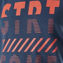 Mouwloos shirt 100 jongens GYM KINDEREN blauw met print