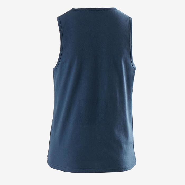 Camiseta Sin Mangas Deportiva Gimnasia Domyos 100 Niño Azul Estampado