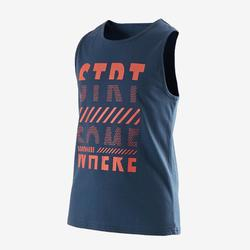 Tank-Shirt 100 Gym Kinder blau bedruckt