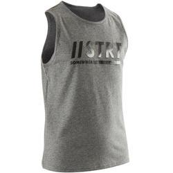 Mouwloos shirt 100 jongens GYM KINDEREN grijs met print