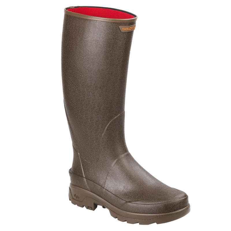 INSULATED REINFORCED WELLIES Shooting and Hunting - RENF 500 WARM WELLIES BROWN SOLOGNAC - Shooting and Hunting