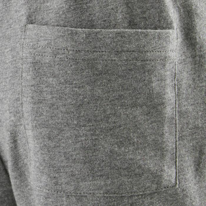Shorts kurz 100 Gym Kinder dunkelgrau meliert mit Print