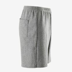 Short voor gym jongens 100 gemêleerd donkergrijs/opdruk