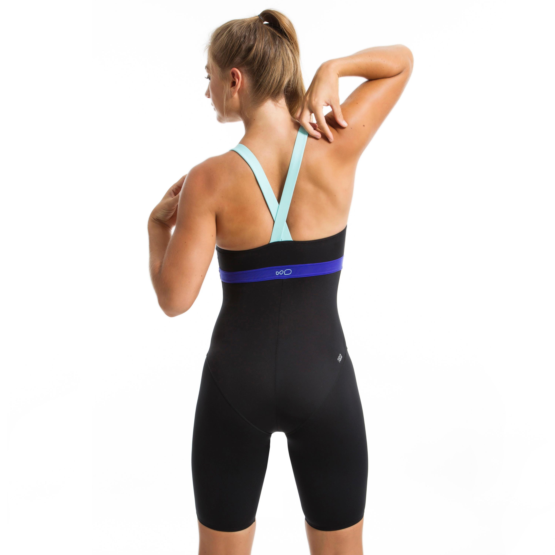 Anna one-piece women's long combishort Aquafitness swimsuit - Black blue