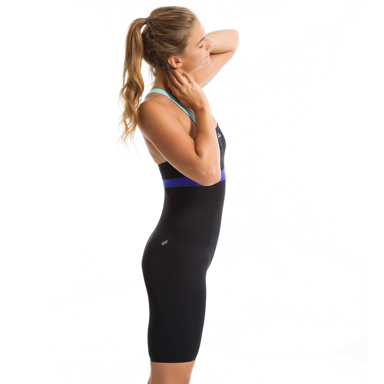 Anna Women's Chlorine-Resistant Aquabiking Jammer Swimsuit - Black Blue