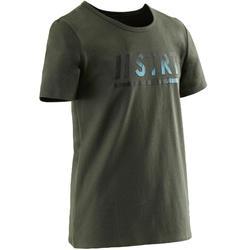 Camiseta Manga Corta Deportiva Gimnasia Domyos 100 Niño Caqui Estampado