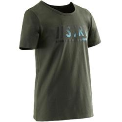 Camiseta de Manga Corta Gimnasia Domyos 100 Niño Caqui Estampado