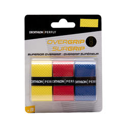 BADMINTON SUPERIOR OVERGRIP X 3 YELLOW RED BLUE