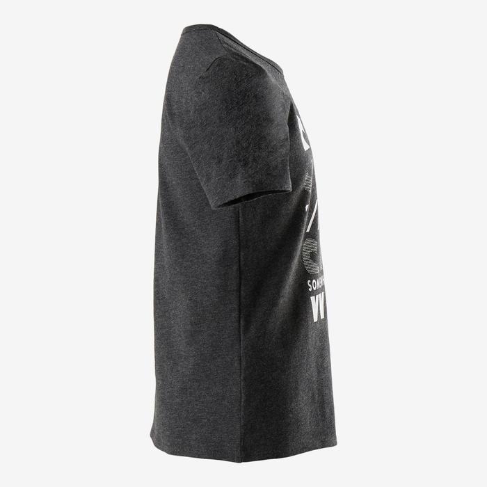 T-shirt manches courtes 100 garçon GYM ENFANT gris chiné foncé imprimé