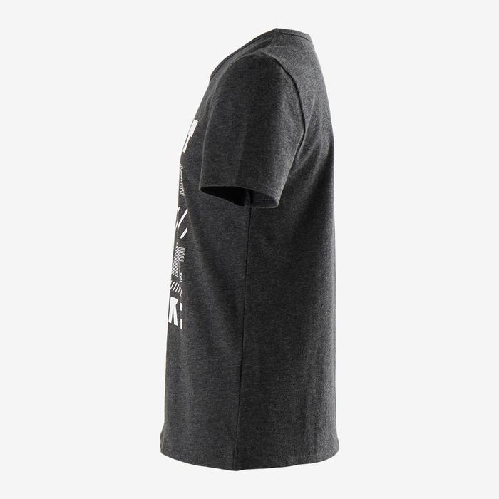 T-shirt met korte mouwen voor gym jongens 100 gemêleerd donkergrijs/opdruk