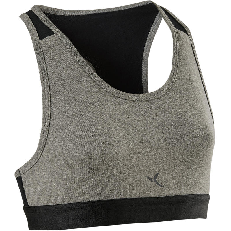 fcb5958200c33 500 Girls  Breathable Cotton Gym Sport Bra - Grey