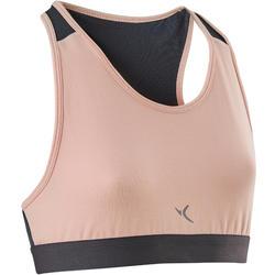 女童透氣健身棉質運動內衣500 - 粉紅色