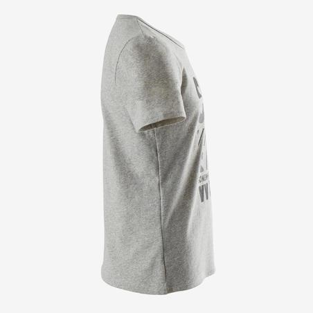 100 Recycled Short-Sleeved Gym T-Shirt - Heather Grey Print - Boys'
