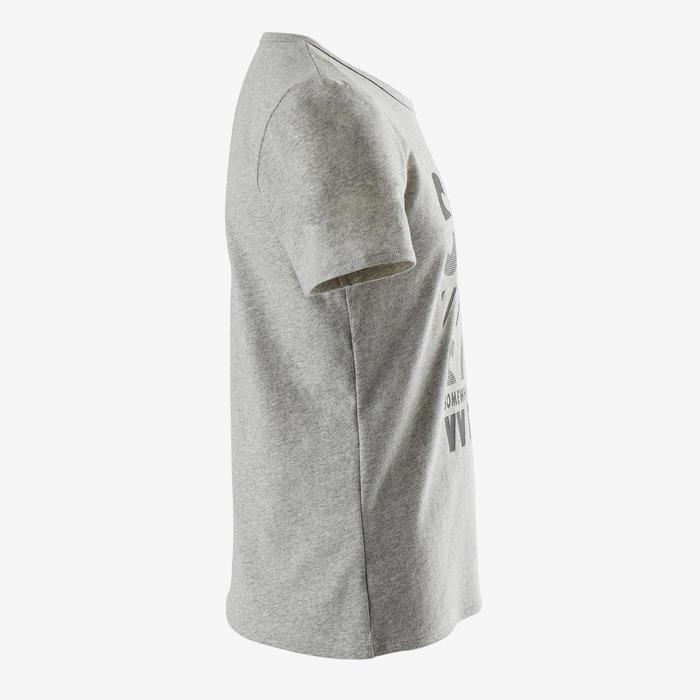 T-shirt korte mouwen gerecycleerd 100 jongens gym kinderen gemêleerd grijs print