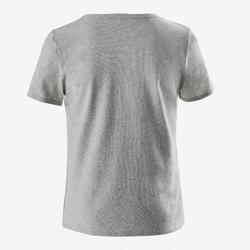 Recycled T-shirt met korte mouwen voor gym jongens 100 gemêleerd grijs/opdruk
