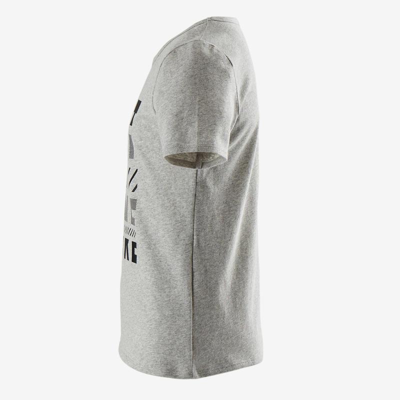 Camiseta manga corta reciclada niño 100 GIMNASIA INFANTIL gris jaspeado estampad