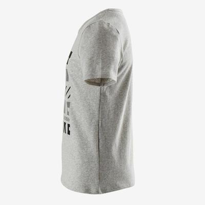 T-Shirt manches courtes recyclé 100 garçon GYM ENFANT gris chiné imprimé